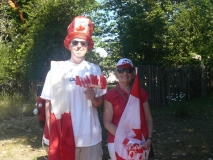Mike and Marilyn ready to give some flags away
